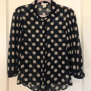 Sans Souci polka dot dolman blouse size S
